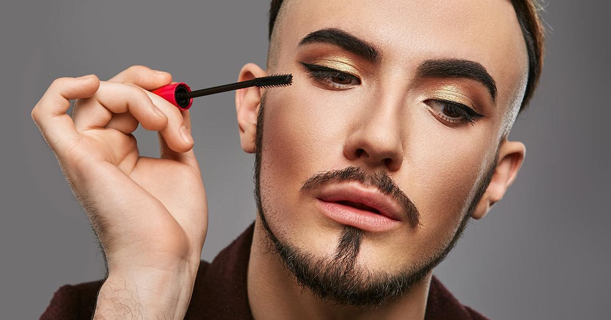 man wearing makeup
