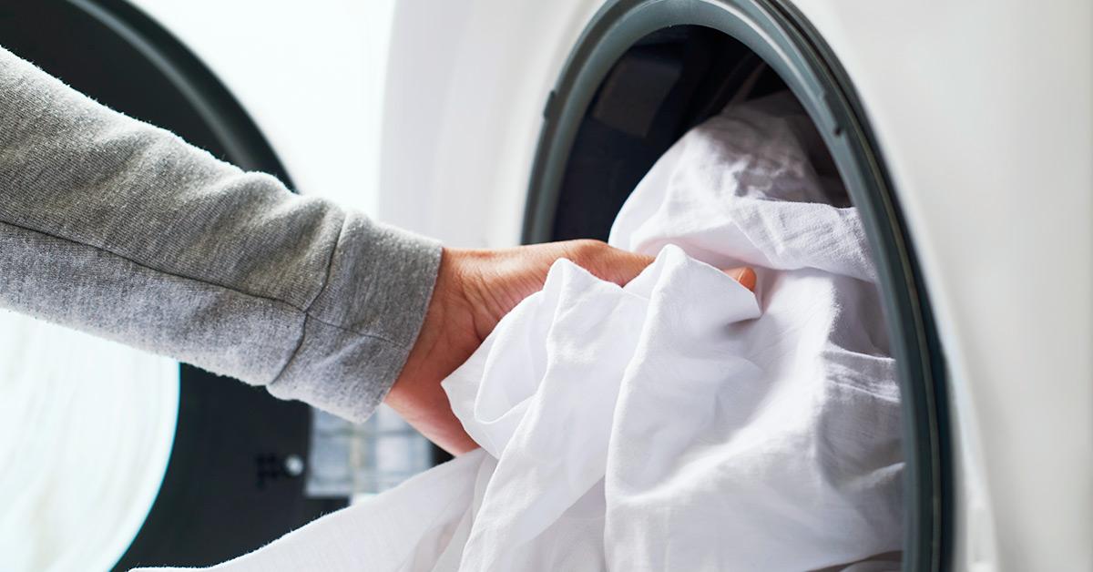 bedsheets in washing machine