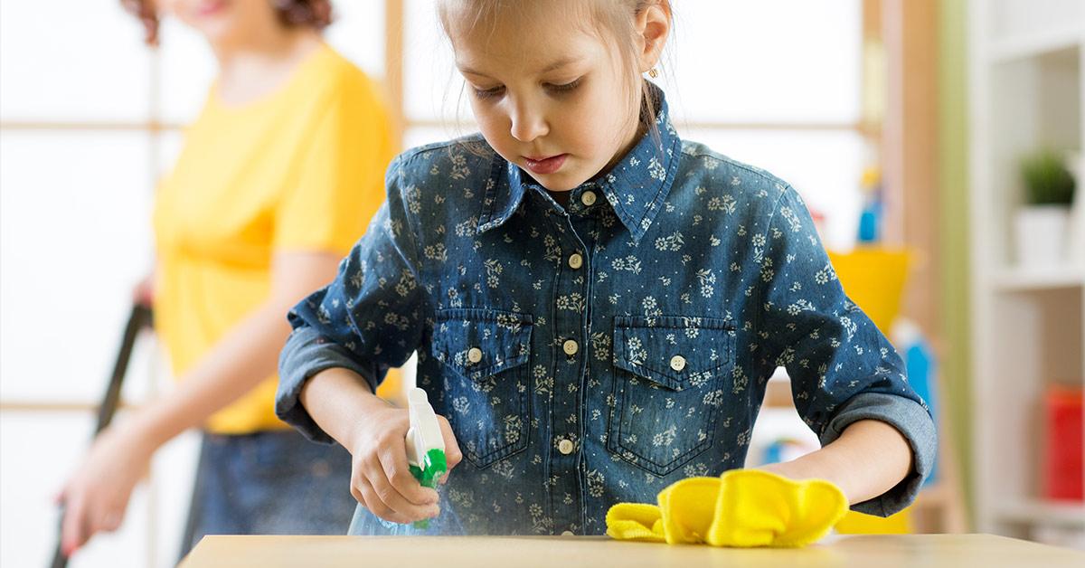 young girl doing housework