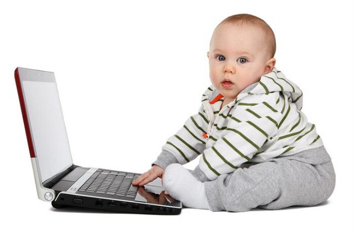 baby at a computer