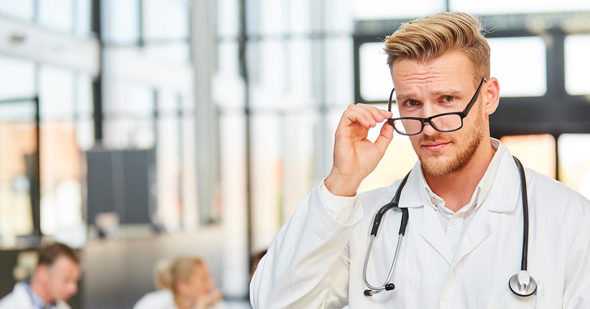 male doctor in glasses