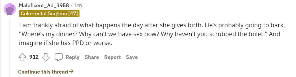 screenshot of reddit thread