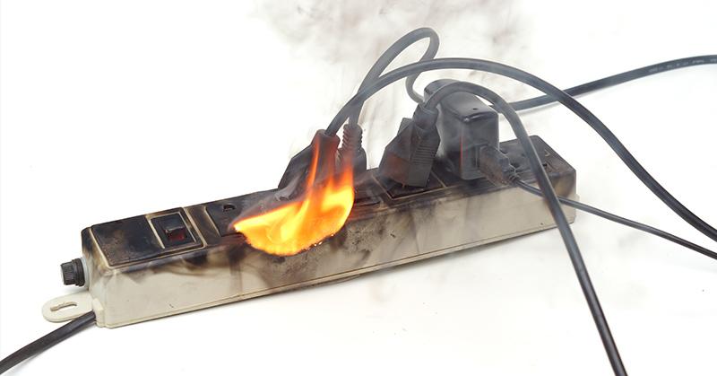 power strip on fire