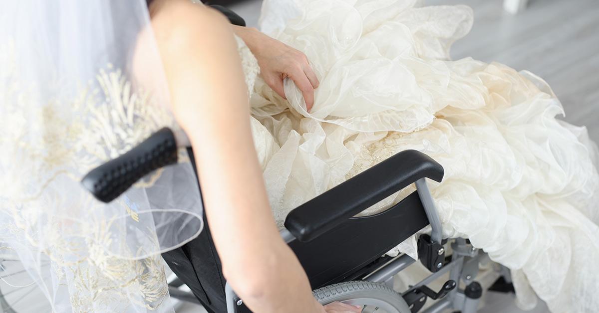 bride in a wheel chair