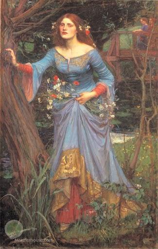 "Waterhouse's ""Ophelia"" that inspired the blue wedding dress"