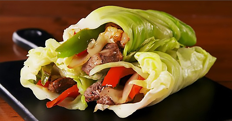 cabbage wrapped philly cheesesteak